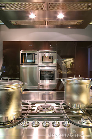 Interiors of kitchen with gas fryer