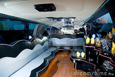 Interiors of a limousine