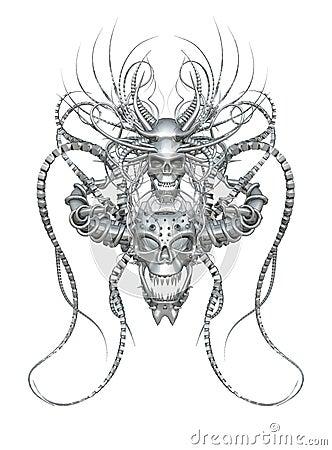 Interlaced 3d chrome skulls