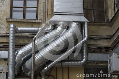 Interlacing of silver air ducts Stock Photo