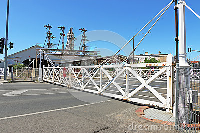 Interlocking Swing Gates In Operation At A Railway ...