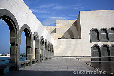 Internal courtyard of the Museum of Islamic Art in Doha, Qatar