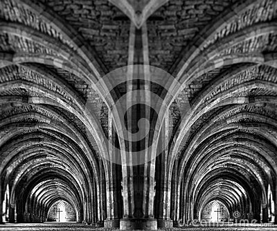 Internal mirror image of an ancient monastery