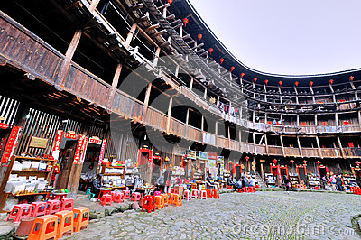 Internal of Southen China traditional residence, Earth Castle Editorial Image