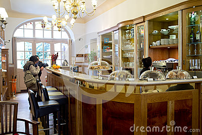 Coffee bar in Prague Editorial Stock Photo