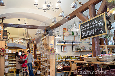 Shop for organic products in Prague Editorial Stock Photo