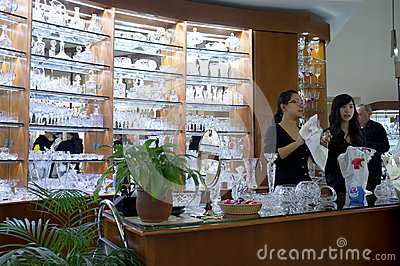 Bohemian crystal shop in Prague Editorial Stock Image