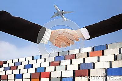 Internationaal bedrijfshandel en vervoersconcept