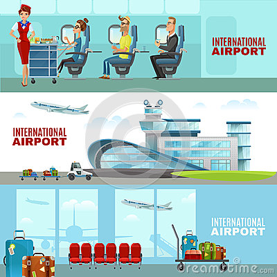 International Airport Horizontal Banners Vector Illustration