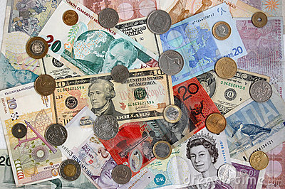 International banknotes and coins Editorial Stock Image