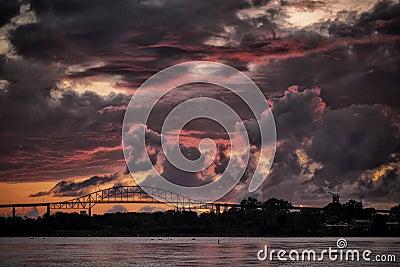 International Bridge at Sunset