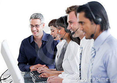 International business people using earpiece