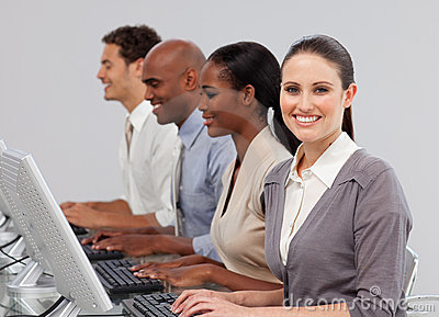 International business people working in a line