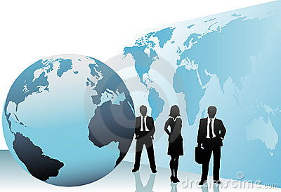International business people world map globe