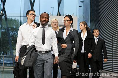 An international business team in formal clothes