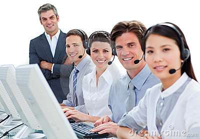International business team talking on headset