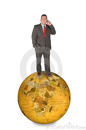 International businessman on cell phone