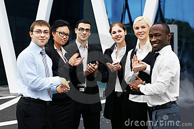 An international businessteam of six young persons