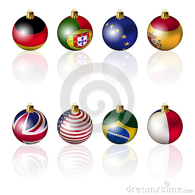 International Christmas balls on white ba
