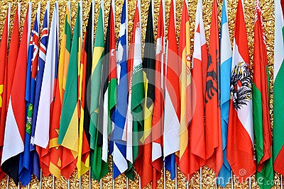 International community with countries flags