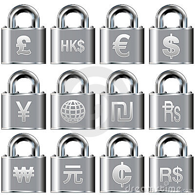 International currency icons on lock buttons