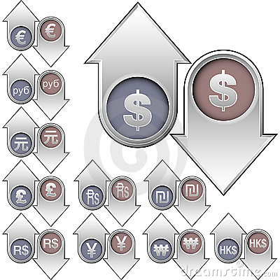 International currency icons on up and down arrows