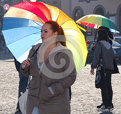 International Day of Tolerance Rainbow Flashmob Editorial Stock Image