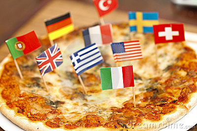 International flags on pizza