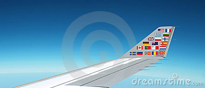 International flags, plane. Panorama above the sky
