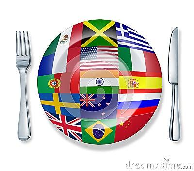 International food fork plate knife isolated world