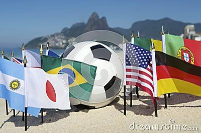 International Football Country Flags Soccer Ball Rio de Janeiro Brazil