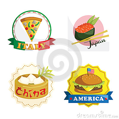 International gourmet food icons