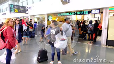International Mexico Benito Juarez Airport. Departure Area with Passengers. Starbuck Coffee and People III stock video