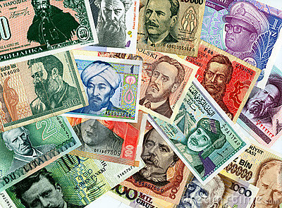 International paper currencies background.