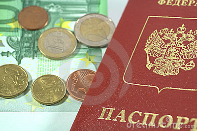 International Passport and euro coins