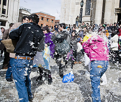 International pillow fight day Editorial Stock Photo