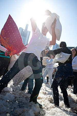 International Pillow Fight, Frankfurt. Editorial Photo
