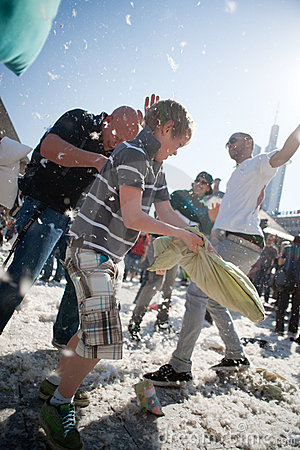 International Pillow Fight, Frankfurt. Editorial Photography