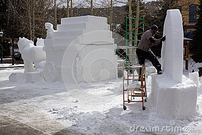 International Snow Sculpture Competition Editorial Stock Image