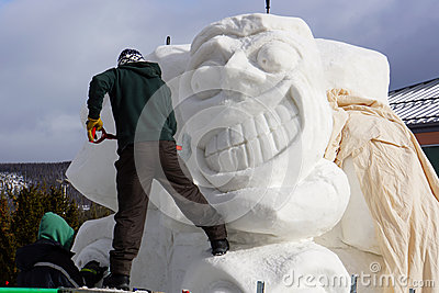International Snow Sculpture Competition Editorial Stock Photo