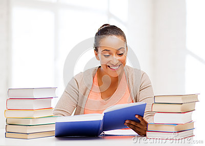 International student studying in college