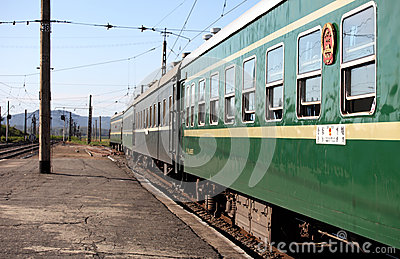 International trains in North Korea Editorial Stock Photo