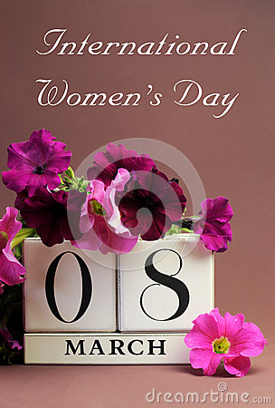 International Women s Day, March 8, calendar - Vertical with message