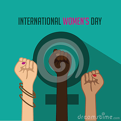 Free International Women S Day Poster With Raised Fists Royalty Free Stock Photos - 66721308