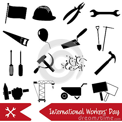 International worker day or labor day theme set of icons eps10 Vector Illustration
