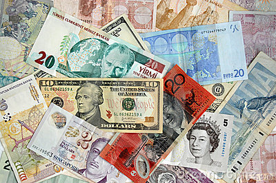 Internationale Banknoten Redaktionelles Stockbild