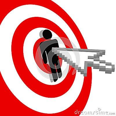 Internet arrow clicks bulls eye target