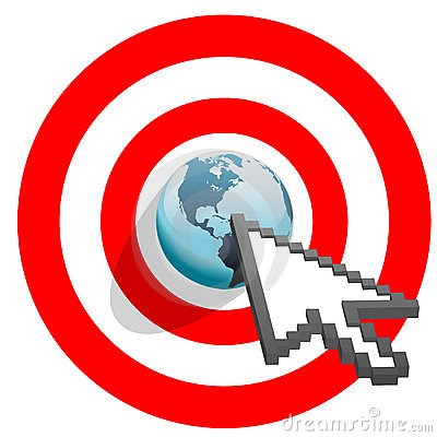 Internet arrow clicks targeted world bulls eye