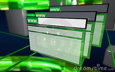 Internet browser in the cyberspace, multiples wind