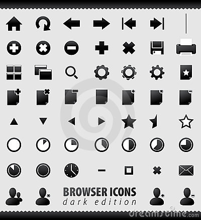 Internet browser and email icons set